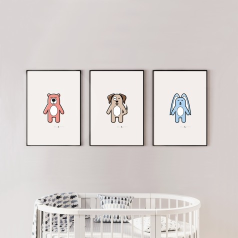Three poster frame mockup in child room with oval crib 3d render